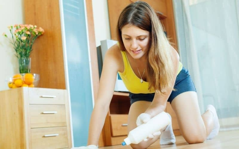 lady cleaning laminate floor