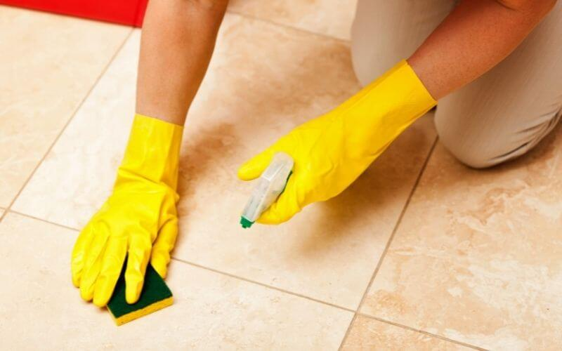 cleaning a tile floor